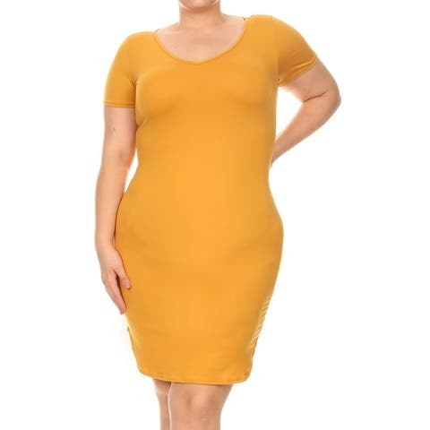 Women's Solid Casual Classic V-Neck Short Sleeve Plus Size Midi Dress