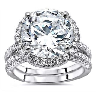 Link to 4.85ct TGW Round Moissanite and Diamond Engagement Ring Bridal Set 14k White Gold Similar Items in Rings