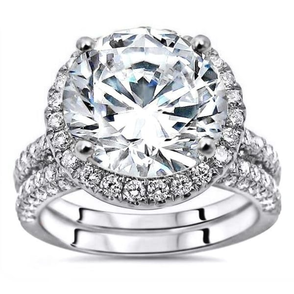 4.85ct TGW Round Moissanite and Diamond Engagement Ring Bridal Set 14k White Gold. Opens flyout.