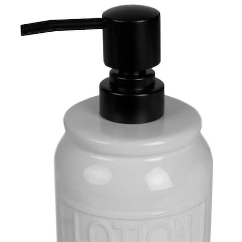 2 Piece Ceramic Soap Dispenser with Metal Rack, White
