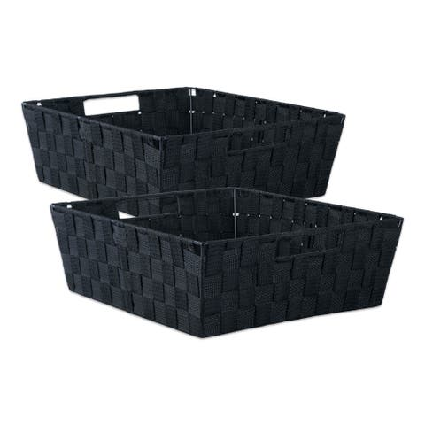 DII Nylon Bin Basket-Weave Trapezoid (Set of 2)