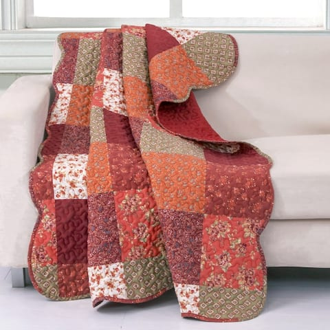 Barefoot Bungalow Country Fair Red Quilted Throw Blanket