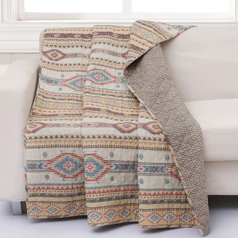 The Curated Nomad San Carlos Tan Quilted Throw Blanket