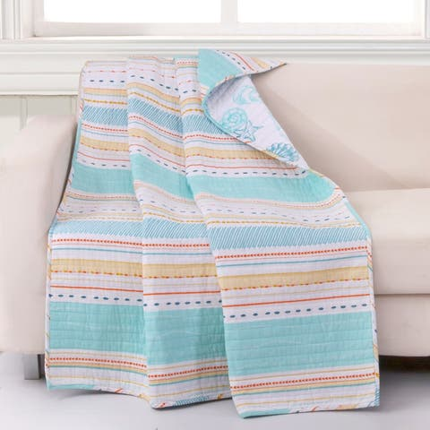 Barefoot Bungalow Pacifica Seashells & Stripes Quilted Throw Blanket