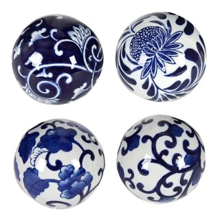 Aline Blue and White Decorative Orbs (Set of Four)