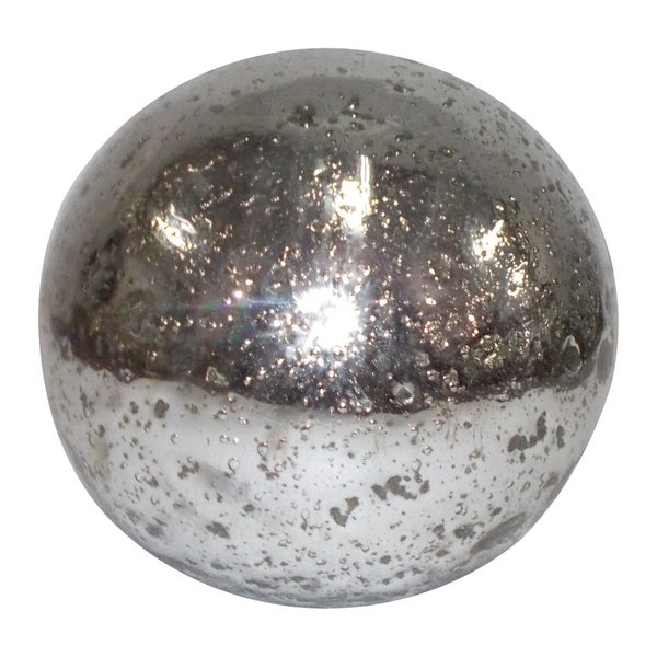 Distressed Silver 12-inch Glass Sphere
