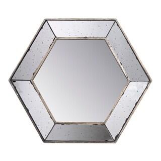 Antiqued 18-inch Hexagon Mirror