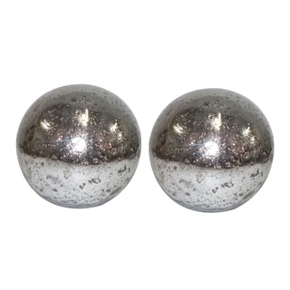 Aged Silver 8-inch Glass Spheres (Set of Two)
