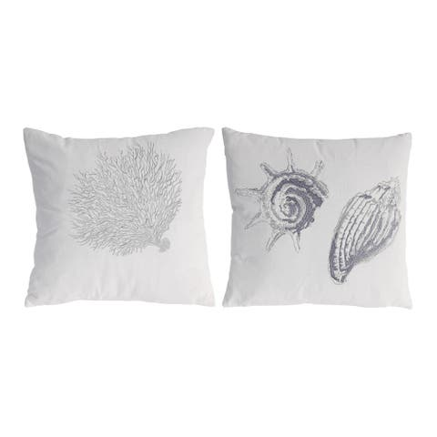White and Silver 18-inch Seashell Pillows (Set of Two)
