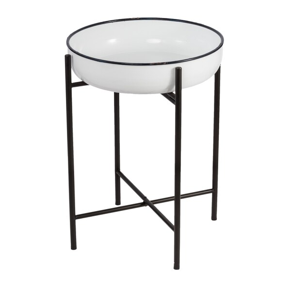 Classic Vintage White and Black One-Tier Metal Bowl on Stand