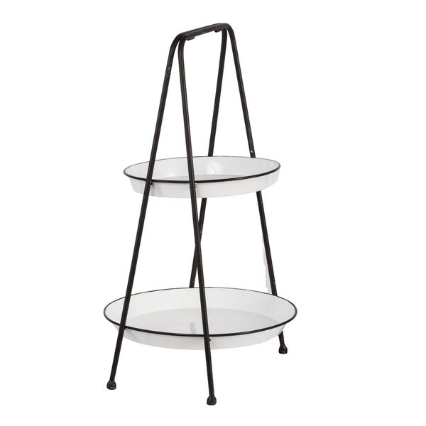 Classic Vintage White and Black Two-Tier Metal Tray Shelf