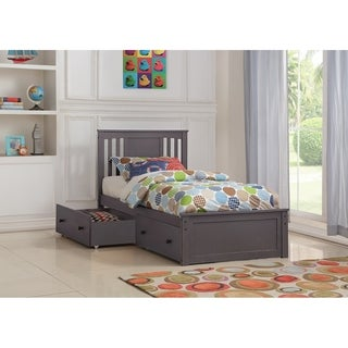 Twin Princeton Bed in Slate Grey with Storage Drawers