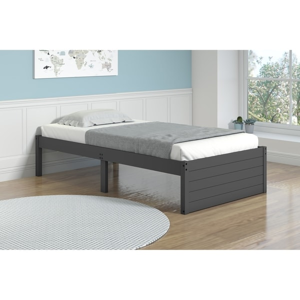 Twin Footboard Panel Bed in Dark Grey