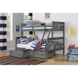 Twin over Full Mission Bunk Bed in Brushed Grey with Storage Drawers