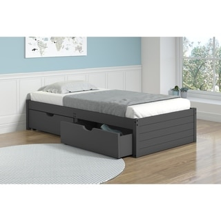 Twin Footboard Panel Bed in Dark Grey with Drawers