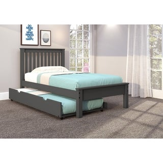 Twin Contempo Bed in Dark Grey with Twin Trundle