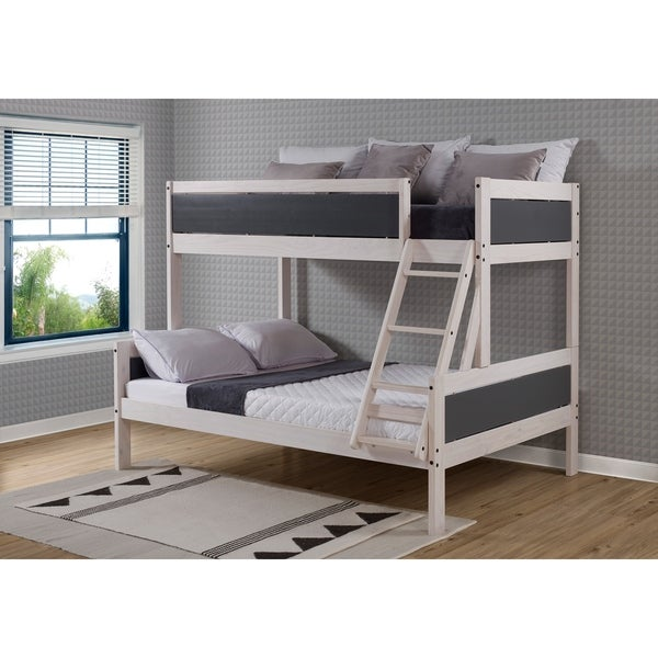 Twin over Full Panel Bunk Bed in White Wash and Dark Grey