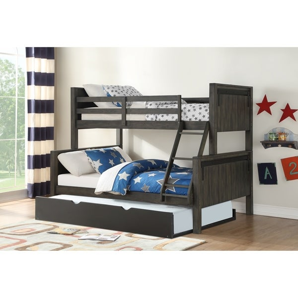 Twin over Full Barn Door Bunk Bed in City Shadow with Twin Trundle in Low Sheen Black