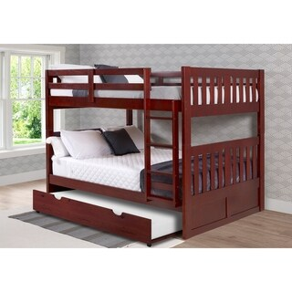 Full over Full Mission Bunk Bed in Merlot with Twin Trundle
