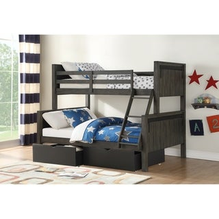 Twin over Full Barn Door Bunk Bed in City Shadow with Storage Drawers in Low Sheen Black