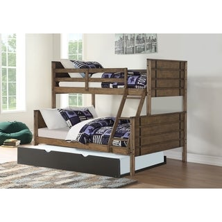 Twin over Full Rustic Industrial Bunk Bed in Burnished Amber with Twin Trundle in Low Sheen Black