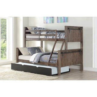 Twin over Full Barn Bunk Bed in Brushed Shadow with Twin Trundle in Low Sheen Black