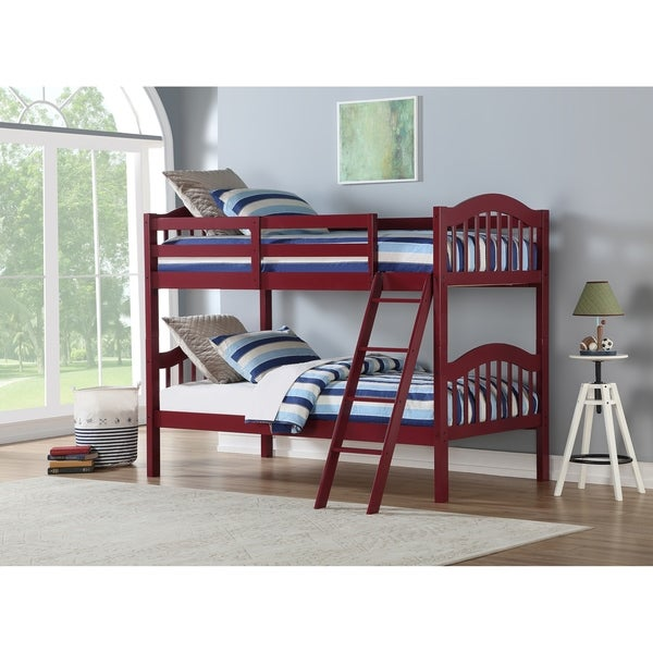 Twin over Twin Arch Mission Bunk Bed in Chili Oil