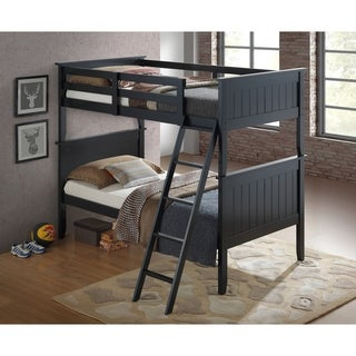 Twin over Twin Panel Bunk Bed in Black