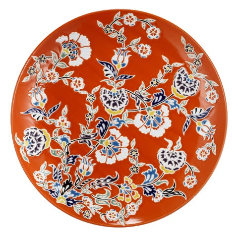 15-inch Red and White Floral Decorative Plate