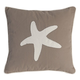 Sandy Brown and White 18-inch Starfish Pillow