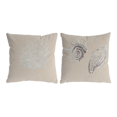 Tan and White 18-inch Seashell Pillows (Set of Two)