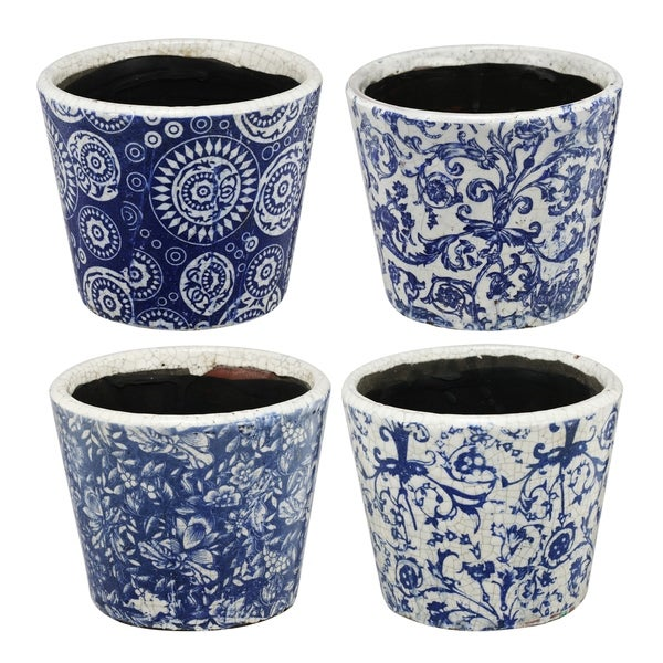 Royal Blue and White Small Blue Planters (Set of Four)