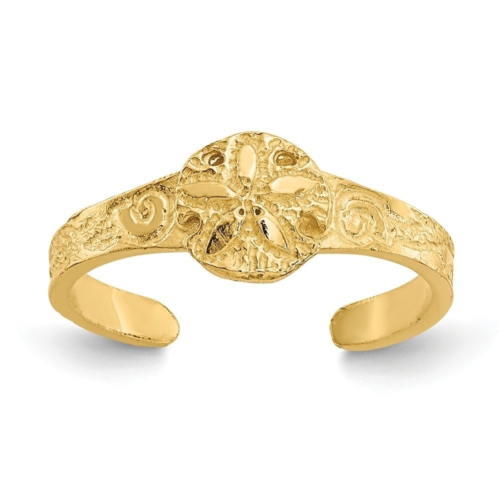 14k Yellow Gold Diamond-cut  X /& Heart Toe Ring