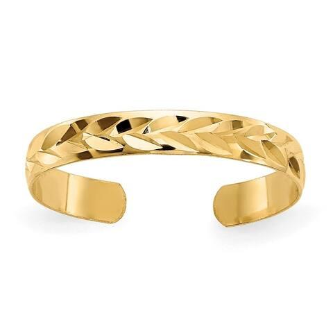 Curata Womens Adjustable Solid 14k Yellow Gold Diamond-Cut Toe Ring