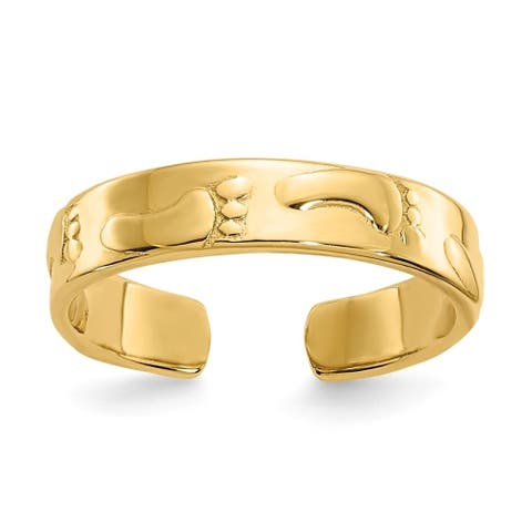 Curata Womens Adjustable Solid 14k Yellow Gold Footprints Toe Ring
