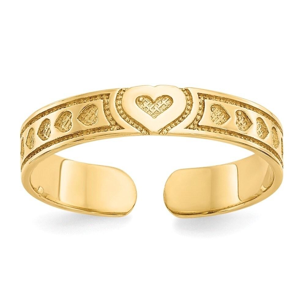 14k Hearts /& X Toe Ring