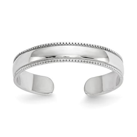 Curata Womens Adjustable Solid 14k White Gold Polished Toe Ring