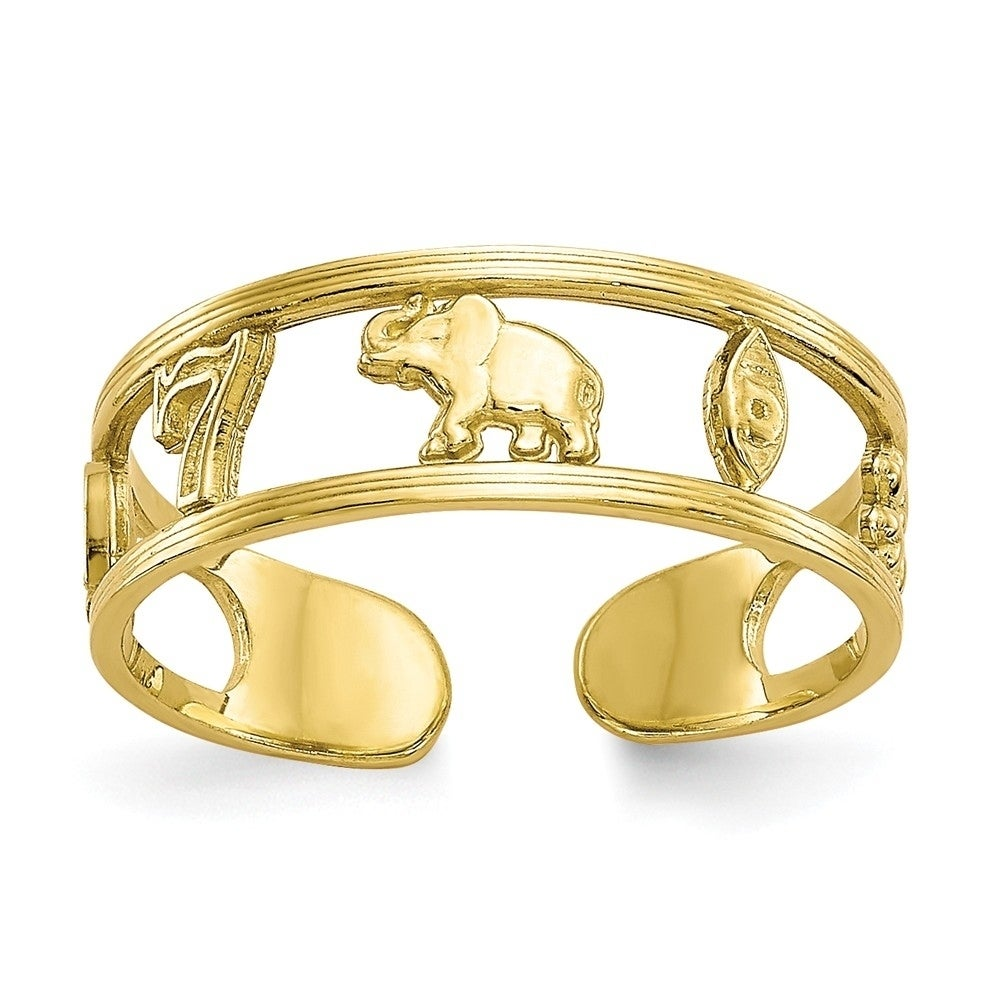 14k Yellow White Rose Gold Baby Feet Footprints Adjustable Toe Ring Solid 10k