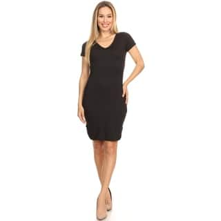 Women's Solid Casual Classic V-Neck Short Sleeve Scooped Neck Midi Dress