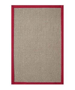 Hand-woven Sisal Red Rug (5' x 8') - Thumbnail 0