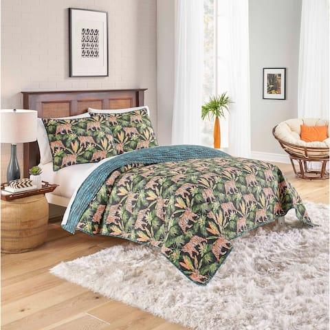 Porch & Den Sweetwood Tiger Design Cotton 3-piece Reversible Quilt Set