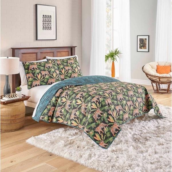 Porch & Den Sweetwood Tiger Design Cotton 3-piece Reversible Quilt Set. Opens flyout.