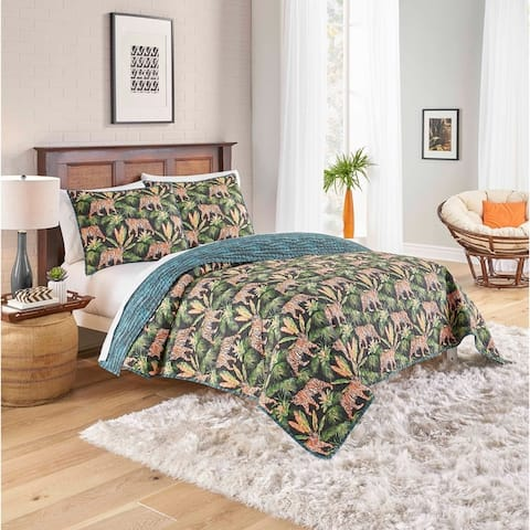 Porch & Den Sweetwood Tiger Design Cotton 3-piece Reversible Quilt Set