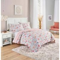 Vue Elle Flamingo 3-Piece Reversible Quilt Set