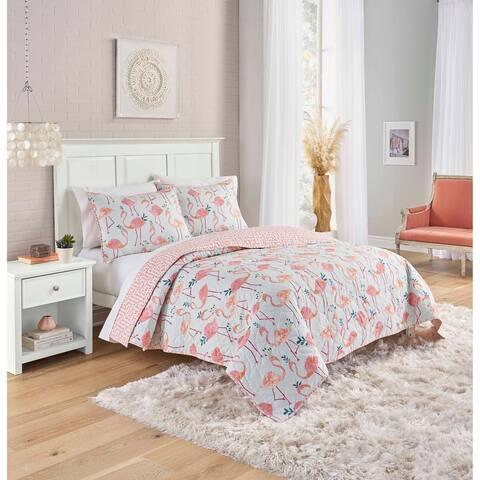 Porch & Den Talisman Flamingo Pattern Cotton 3-piece Reversible Quilt Set