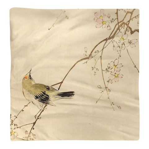 Vintage Japanese Bird and Blossoms Watercolor Napkin