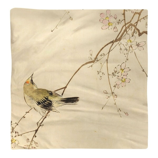 Vintage Japanese Bird and Blossoms Watercolor Napkin. Opens flyout.