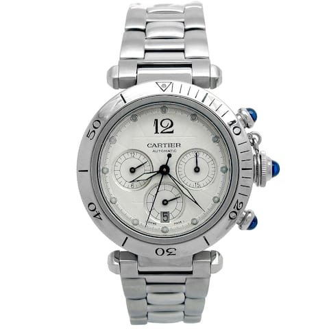 Pre-owned 38mm Cartier Stainless Steel Pasha Watch with Silver Dial
