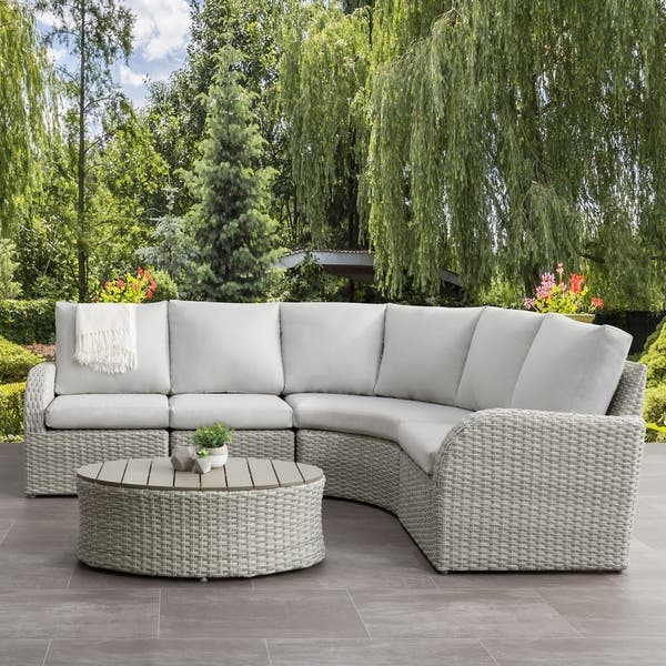 Shop Corliving 5pc Weather Resistant Patio Curved Sectional