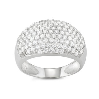 Sterling Silver Cubic Zirconia Dome Cocktail Ring